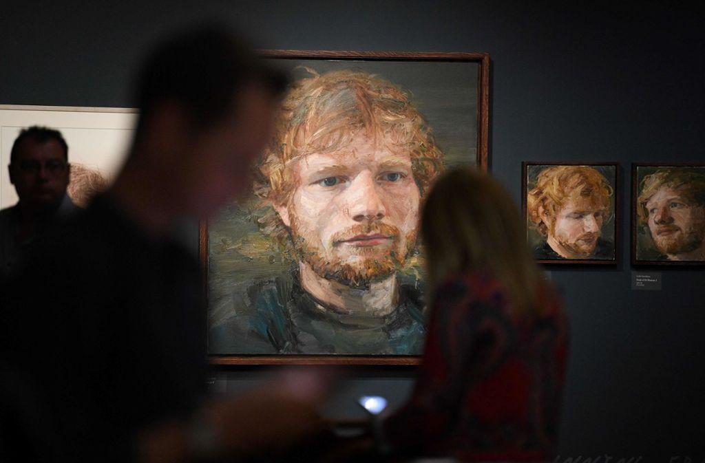 In der Ausstellung sind unter anderem Porträts von Ed Sheeran zu sehen. Foto: AFP