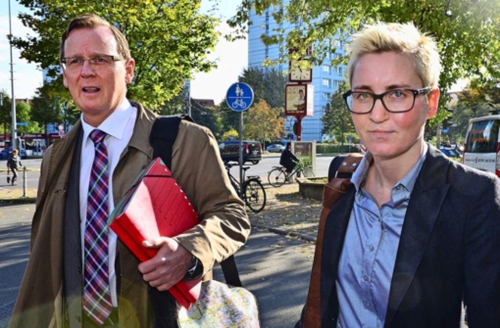 Der Westdeutsche  Bodo Ramelow (links) will in Erfurt Regierungschef werden,  Susanne Hennig-Wellsow hat ihm als Parteichefin den Boden bereitet. Foto: dpa