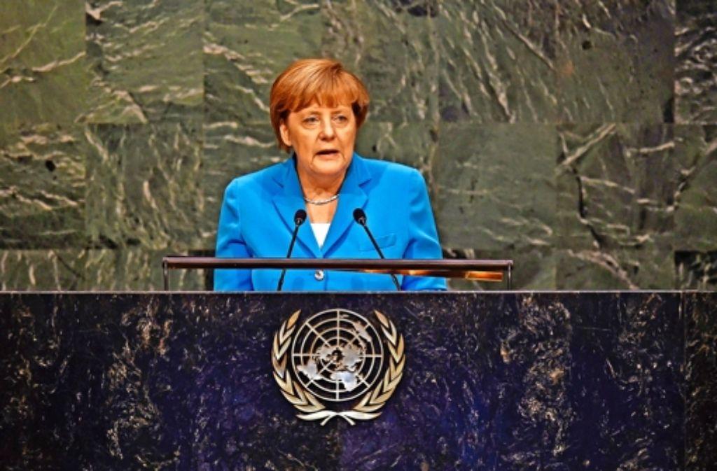 Bundeskanzlerin Angela Merkel bei ihrer Rede in New York. Foto: AFP