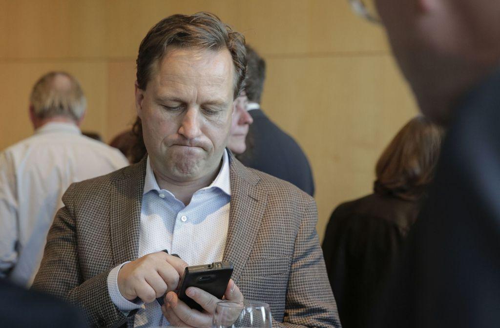 Christian Köhler, Spitzenkandidat der AfD, am Wahlsonntag im Rathaus. Foto: Lichtgut/Leif Piechowski