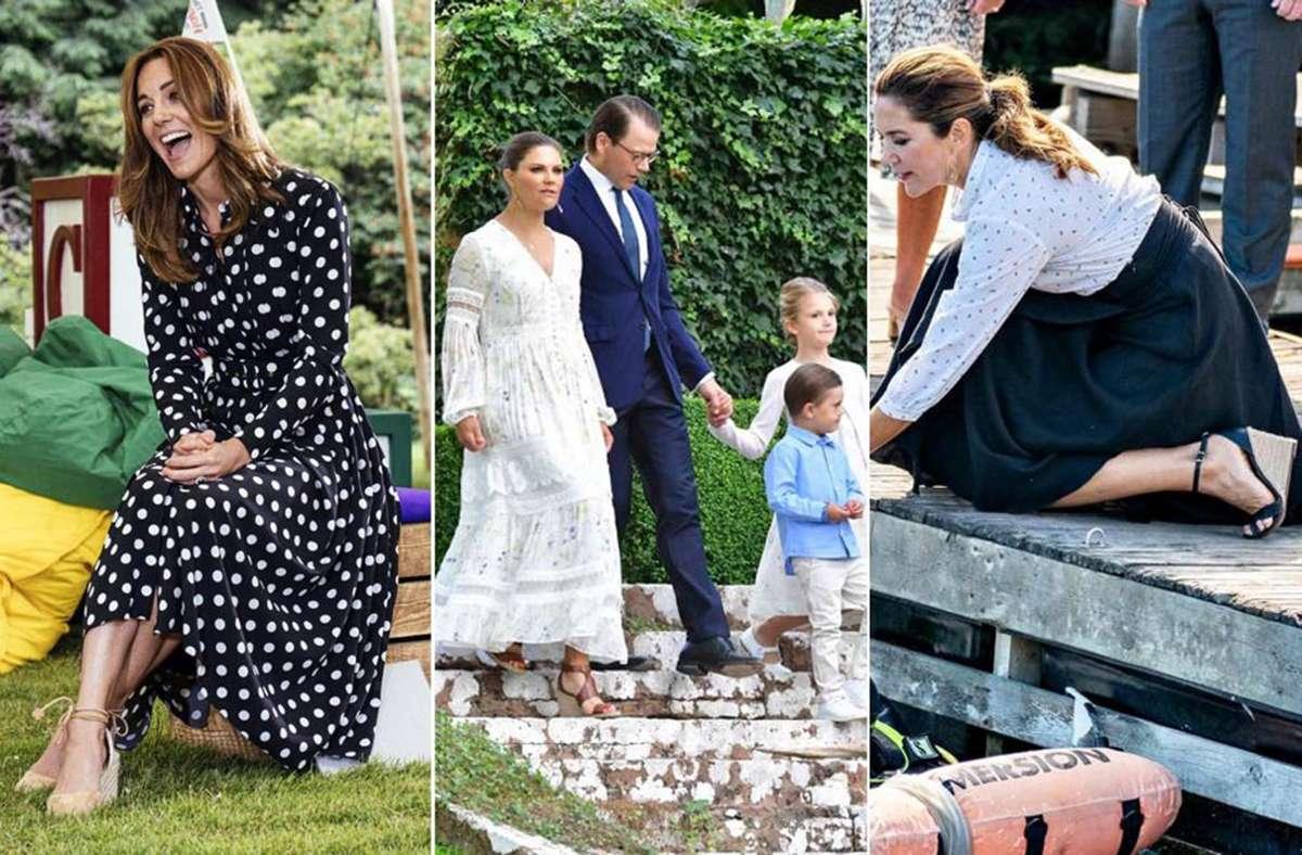 Nicht ohne meine Wedges: Herzogin Kate (links), Schwedens Kronprinzessin Victoria und die dänische Kronprinzessin Mary (rechts). Foto: Kensington Palace/AP/AFP