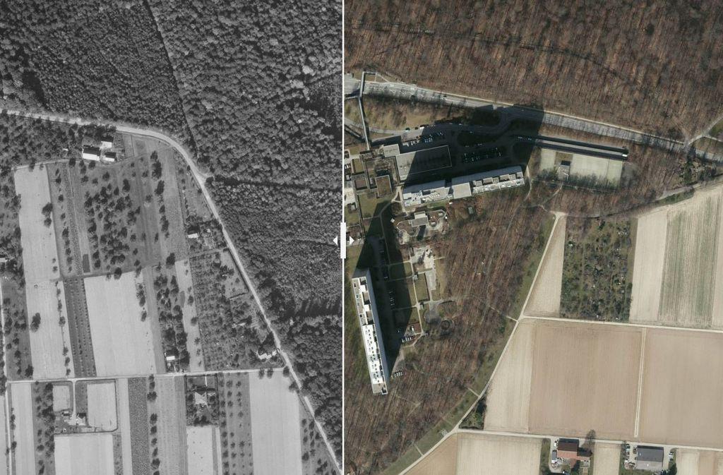 Umgeben von Feldern wurden mehr als 1100 Wohnungen aus dem Boden gestampft. Foto: Stadtmessungsamt/Plavec