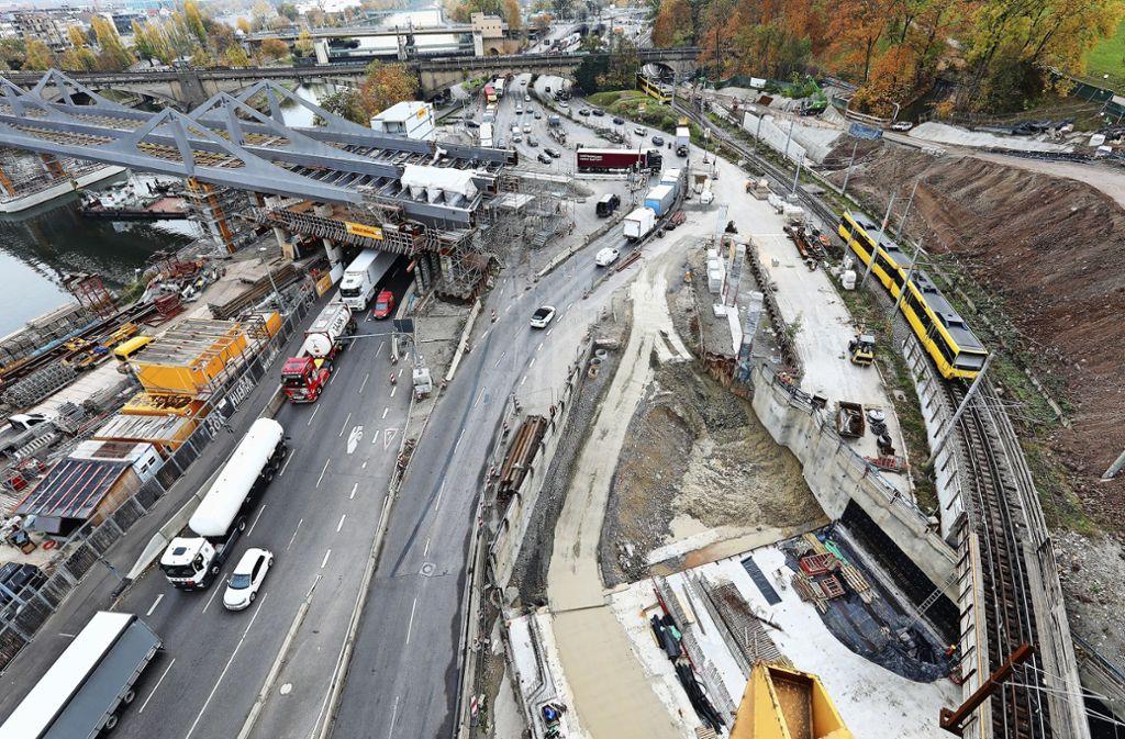 Laut Wolff & Müller soll die Stadt die Voruntersuchungen im Bereich des Tunnelmundes in der Neckartalstraße  nur unzureichend erledigt haben. Foto: Stuttgart (z)