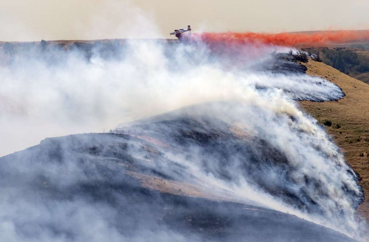 Ein Flugzeug wirft westlich von Clarkston im US-Bundesstaat Michigan Feuerschutzmittel auf das westliche Ende des Asotin Complex Fire ab. Foto: Pete Caster/The Lewiston Tribune via AP/dpa