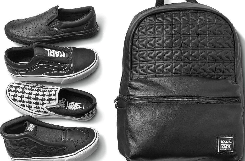 Viel schwarzes Leder und der für Chanel typische Bouclé-Stoff: So sehen Karl Lagerfelds Sneakers für Vans aus. Foto: Vans