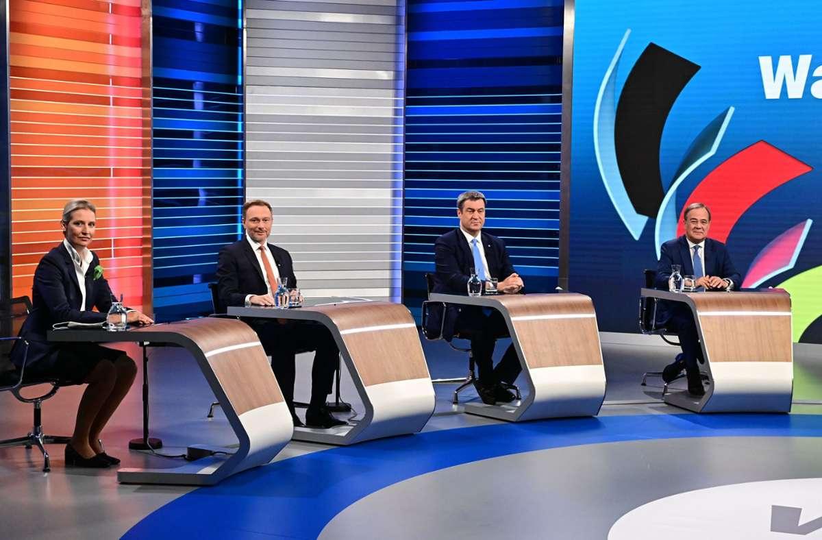Besonders im Fokus der Userinnen und User waren Alice Weidel (AfD), Christian Lindner (FDP), Markus Söder (CSU) und Armin Laschet (CDU). Foto: dpa/Tobias Schwarz