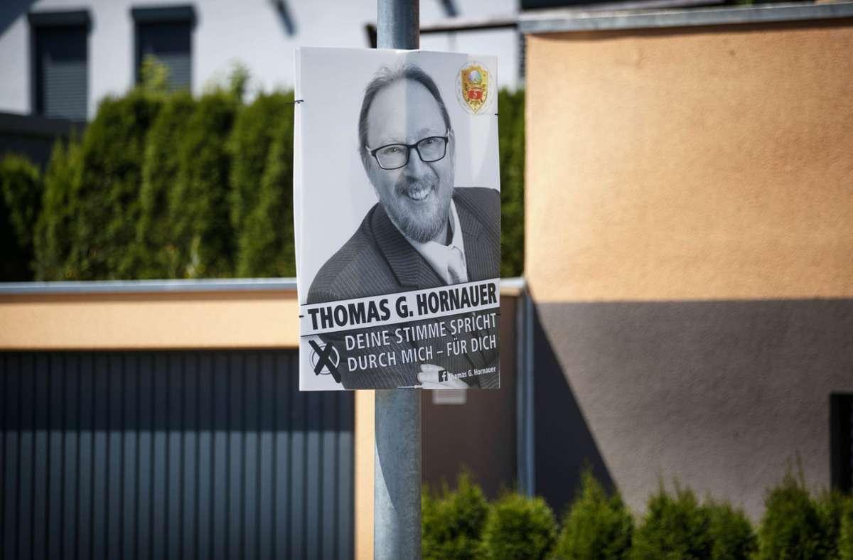 In Berglen hatte Thomas Hornauer nicht offiziell kandidiert – Plakate hängte er trotzdem auf. Foto: Gottfried Stoppel/l