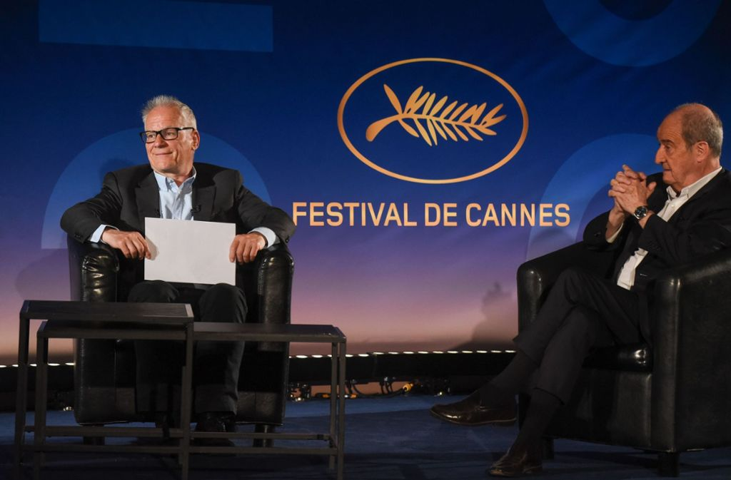 Der Festival-Direktor  Thierry Fremaux (links) und Präsident Pierre Lescure präsentieren ihre Empfehlungen. Foto: AFP/SERGE ARNAL