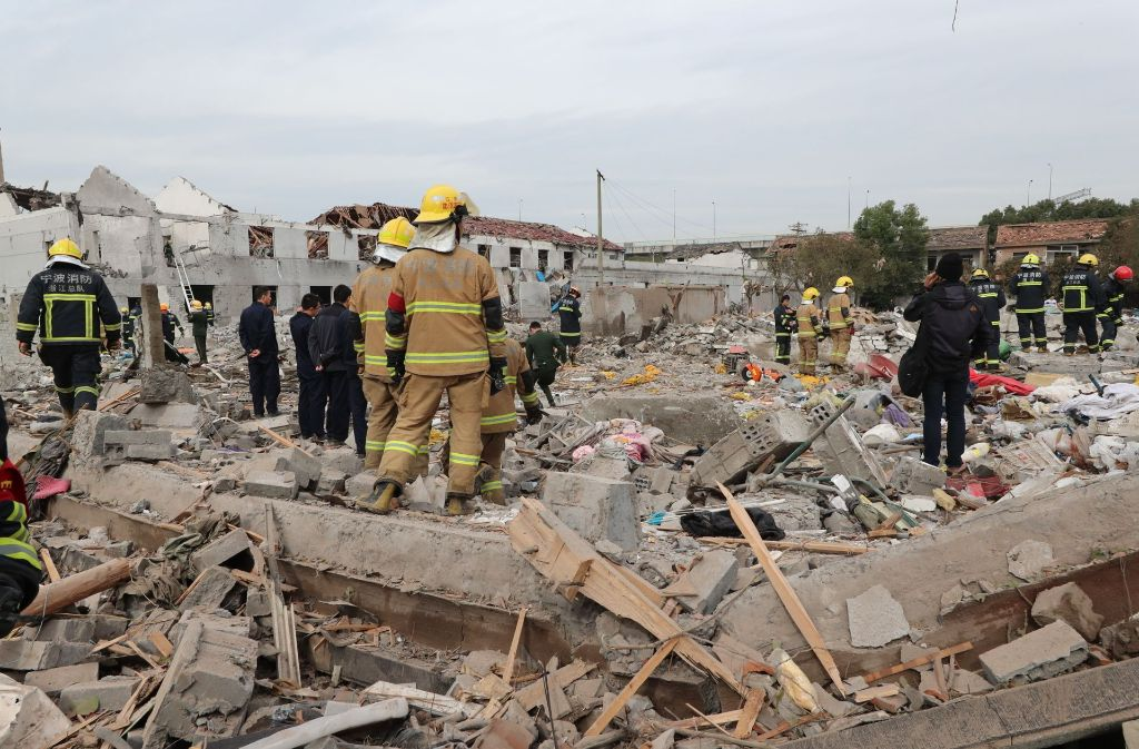 Trümmer nach einer Explosion in Ningbo. Foto: Getty Images AsiaPac