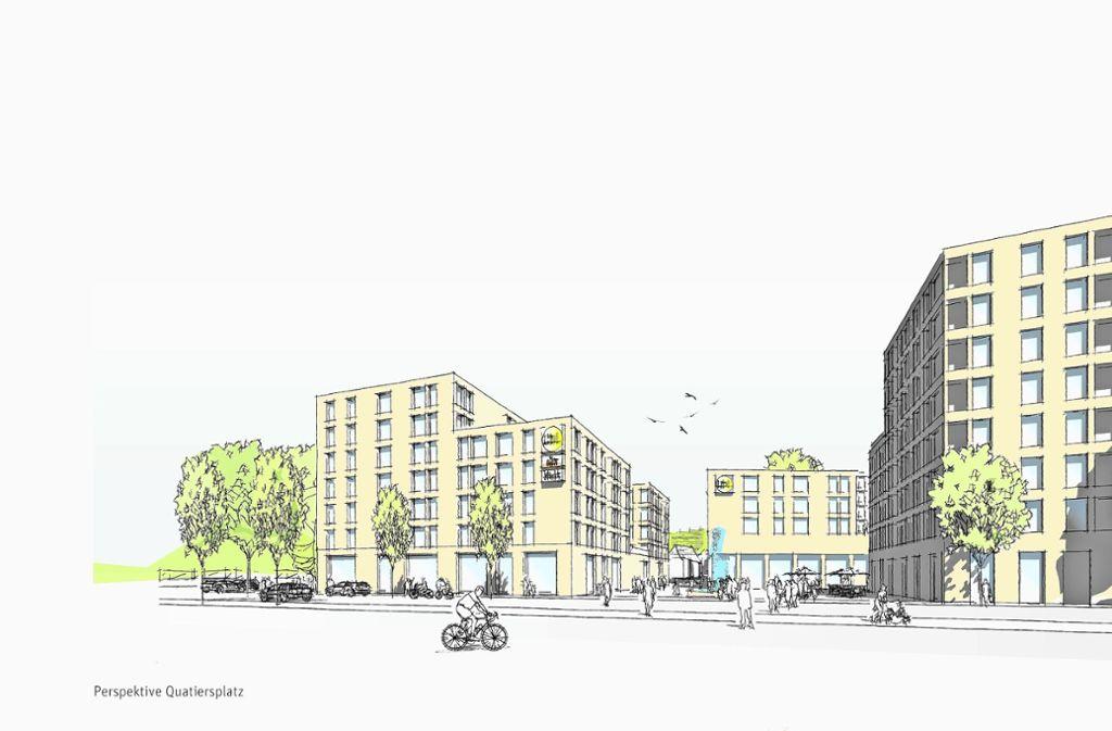 Die Bebauung mit den Punkthäusern und dem Lidl-Markt gruppiert sich um einen zentralen Quartiersplatz. Foto: Entwurf: Pesch Partner Architekten Stadtplaner/Lidl
