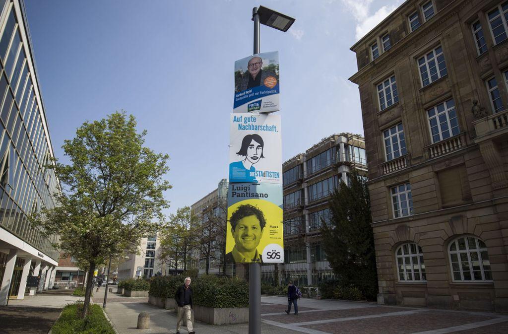 Wahlplakate in Stuttgart. Klicken Sie sich hier durch unsere Bildergalerie, um zu sehen, welche womöglich am besten ankommen! Foto: Leif Piechowski