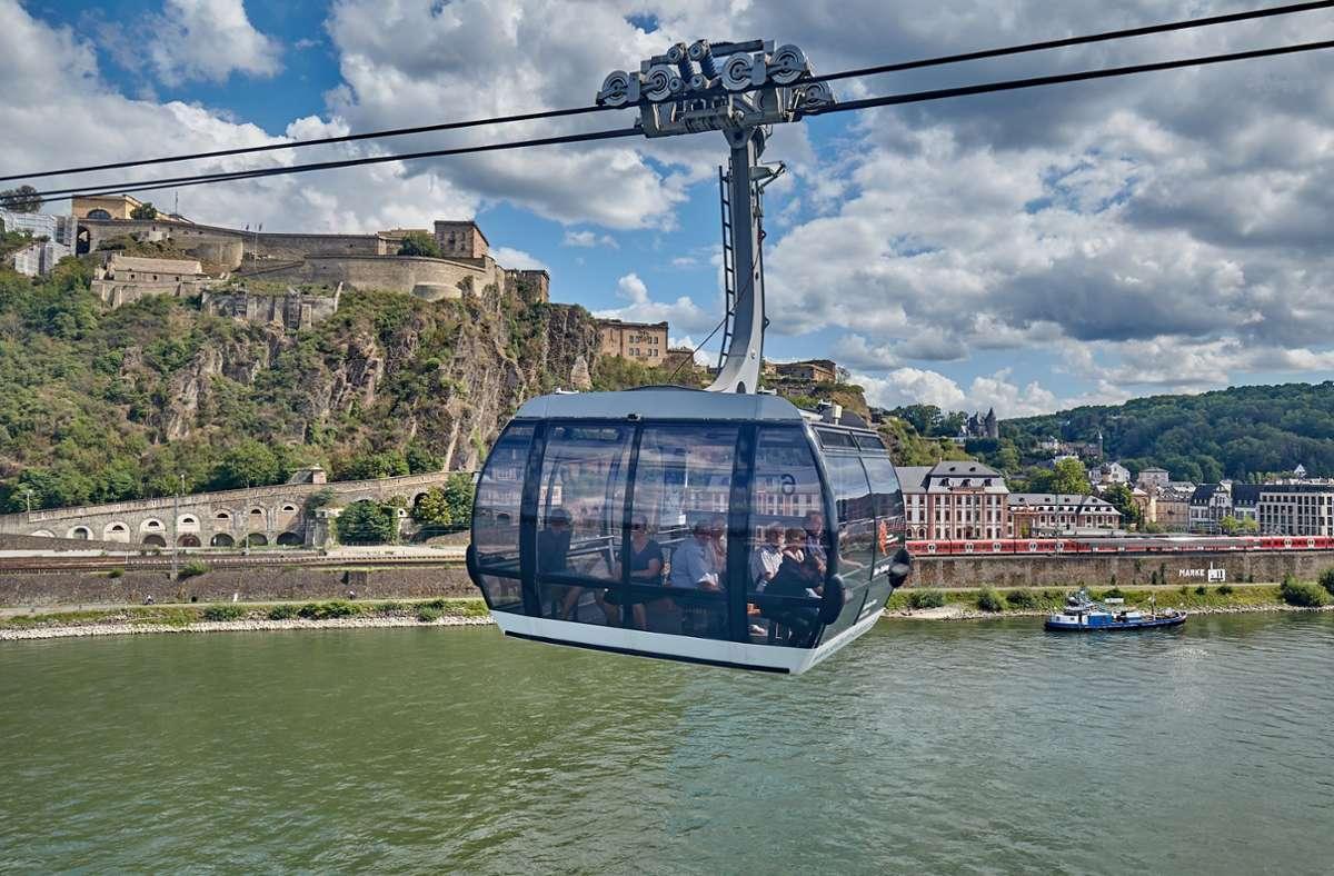 So malerisch wie hier in Koblenz wird die Gondelfahrt über dem Synergiepark Vaihingen-Möhringen wohl nicht werden. Foto: picture alliance/dpa/Thomas Frey