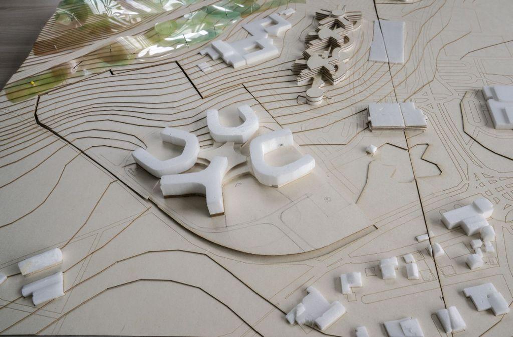 Ein Modell des neuen Baukomplexes von IBM in Ehningen. Foto:
