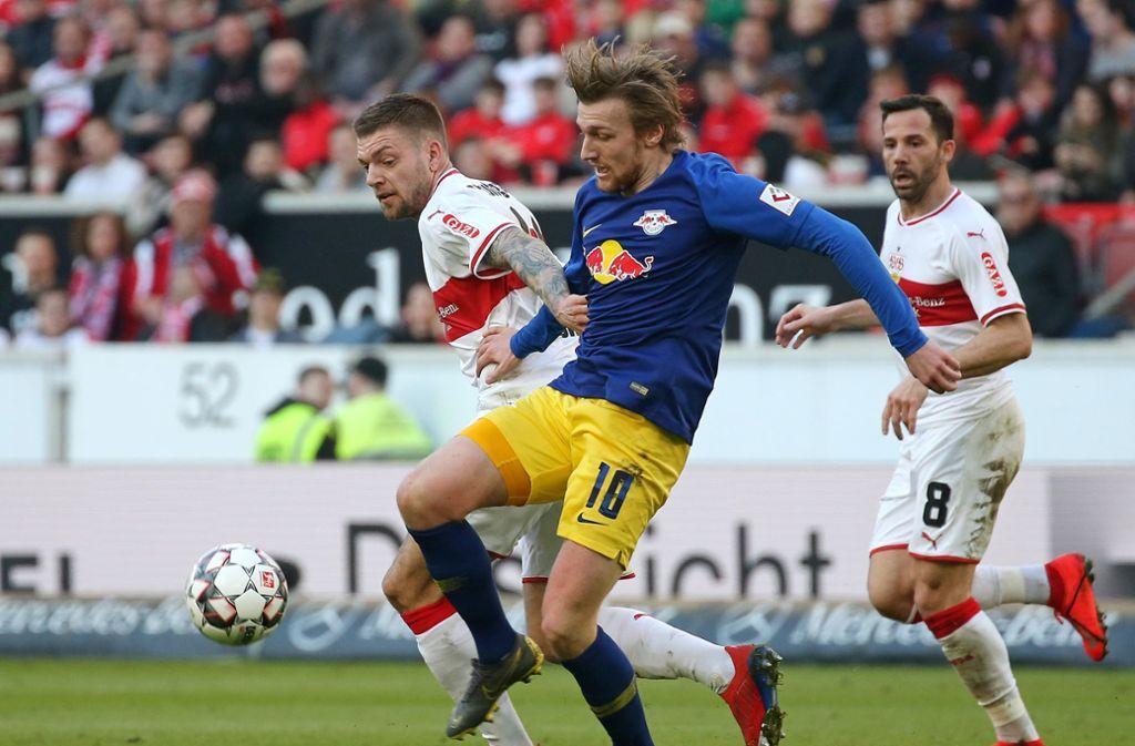 Lange hielt der VfB Stuttgart gegen RB Leipzig gut mit – am Ende aber hieß es dennoch 1:3. Foto: Pressefoto Baumann