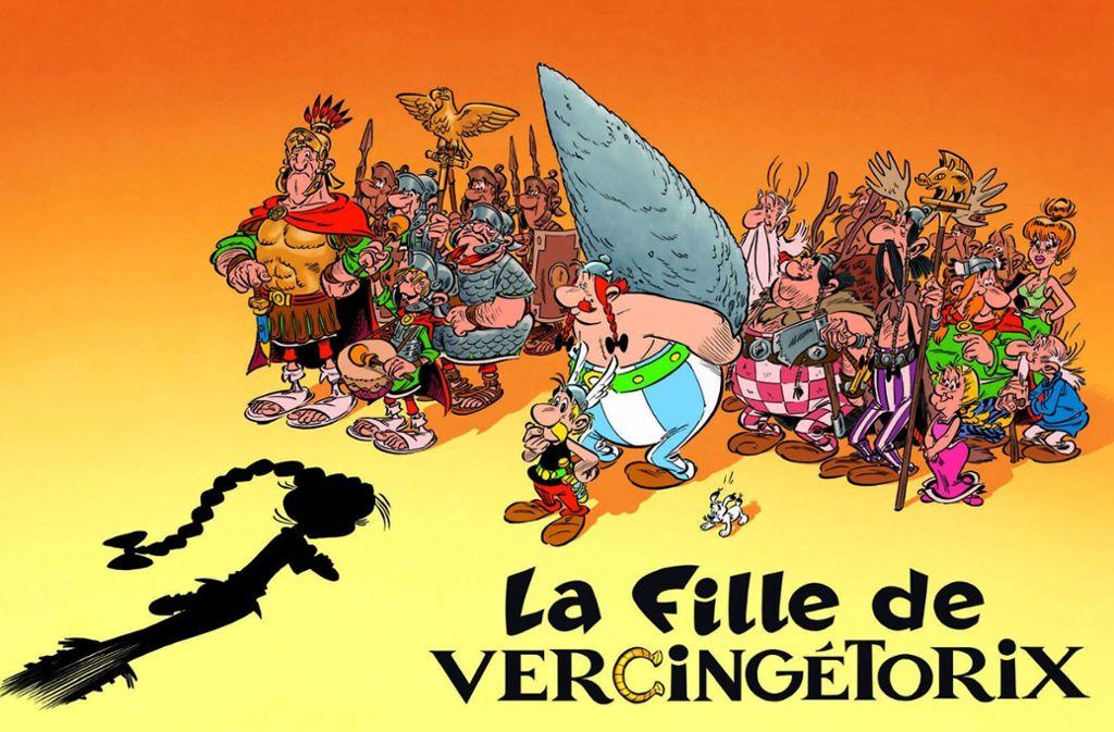 Ein erstes Neugierkitzler-Bild zum nächsten Asterix-Band: Von der weiblichen Heldin ist vorerst nur der Schatten zu sehen. Foto: Asterix ® - Obelix ® / © 2017 LE