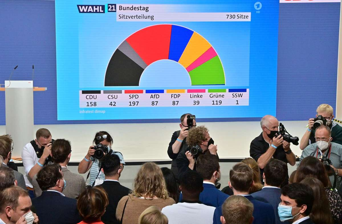 Die unklaren Machtverhältnisse lassen nicht nur bei den Parteien (wie hier der CDU), sondern auch in der Wirtschaft Unsicherheiten aufkommen. Foto: dpa/Peter Kneffel