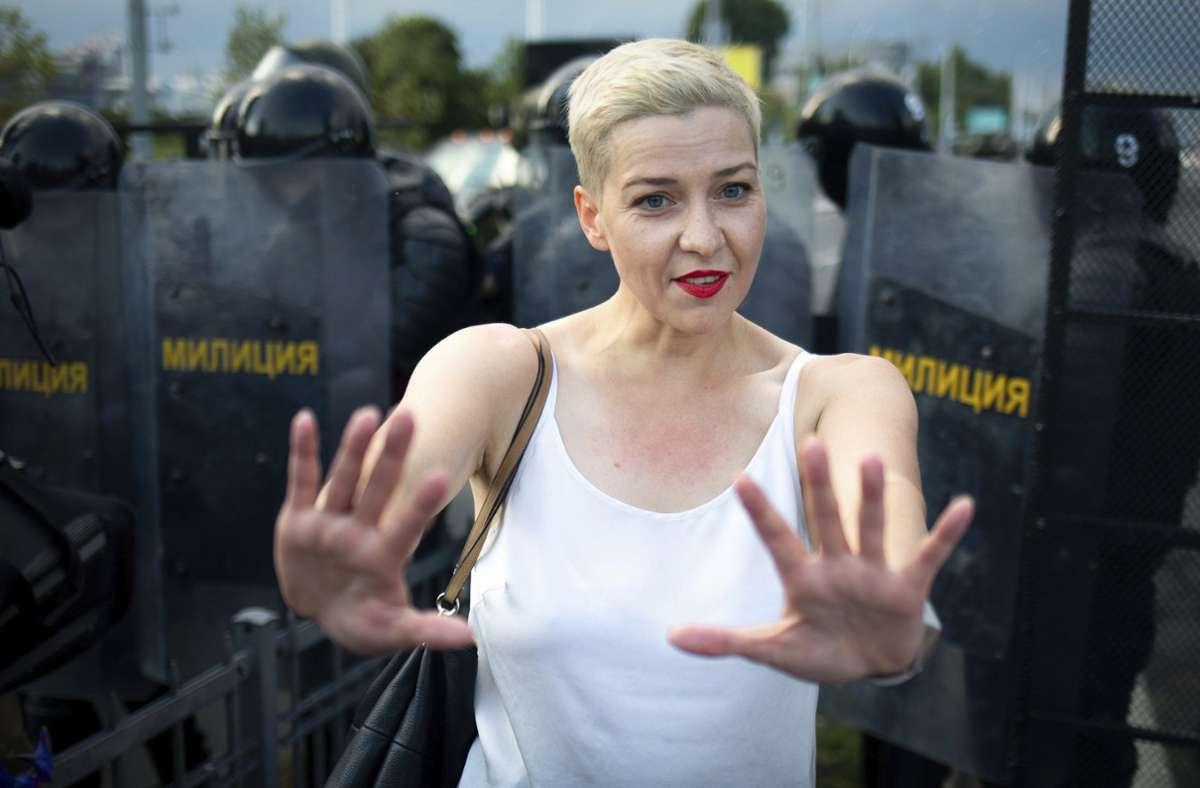 Maria Kolesnikowa, die seit 2012 in Stuttgart gelebt hat und sich nach der Wahl in Belarus dort in der Opposition engagierte, auf einem Archivbild von Ende August Foto: dpa