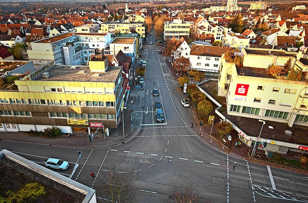 So sieht die Hindenburgstraße zurzeit – mit wenig Verkehr –   aus. Foto: Stadt Ostfildern/Winkler