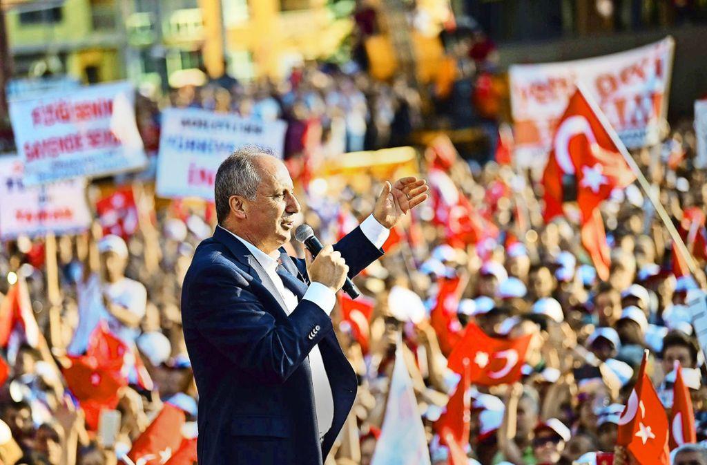 Muharrem Ince hat gute Chancen, am 24. Juni in die Stichwahl gegen Erdogan zu kommen. Foto: Imago