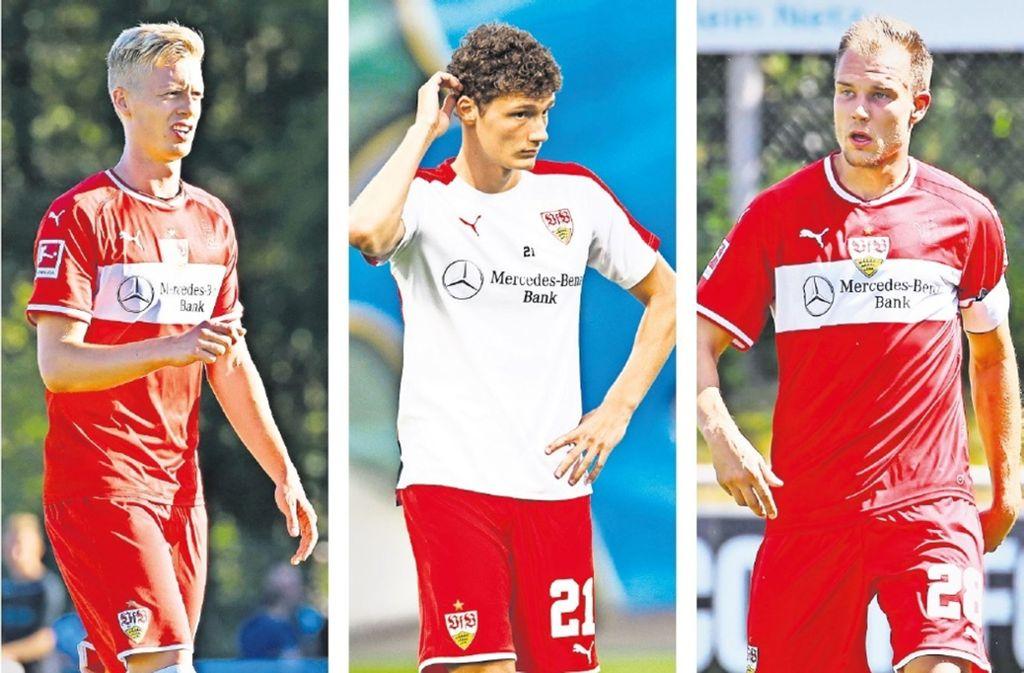 Die drei Kandidaten für die zwei Plätze in der Innenverteidigung: Timo Baumgartl, Benjamin Pavard, Holger Badstuber (von links) vom VfB Stuttgart. Foto: Baumann