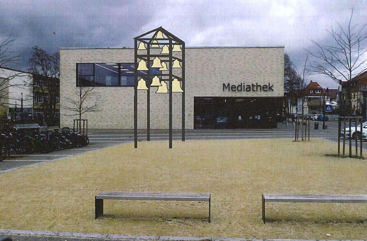 Die Fotomontage zeigt das neue Glockenspiel vor der der Renninger Mediathek Foto: Katholische Kirchengemeinde
