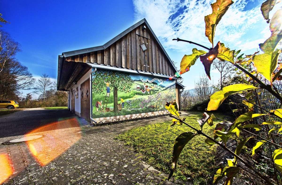 Das Wandbild am OGV-Vereinsheim scheint jetzt wieder mit der Sonne um die Wette. Foto: Ines Rudel