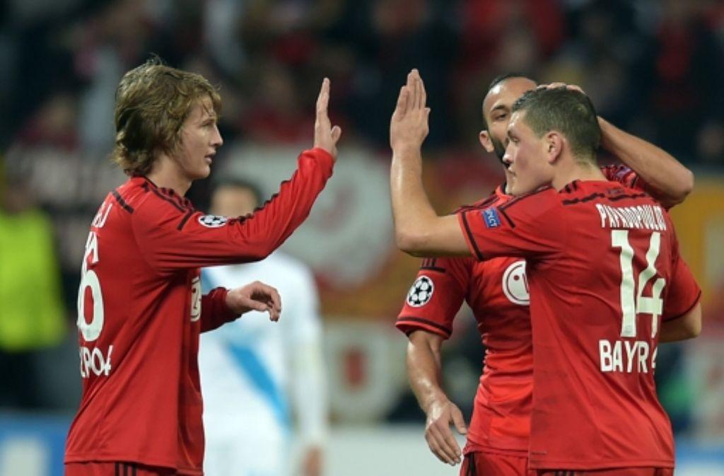 Bayer Leverkusen gewinnt gegen Zenit St. Petersburg mit 2:0.  Foto: dpa