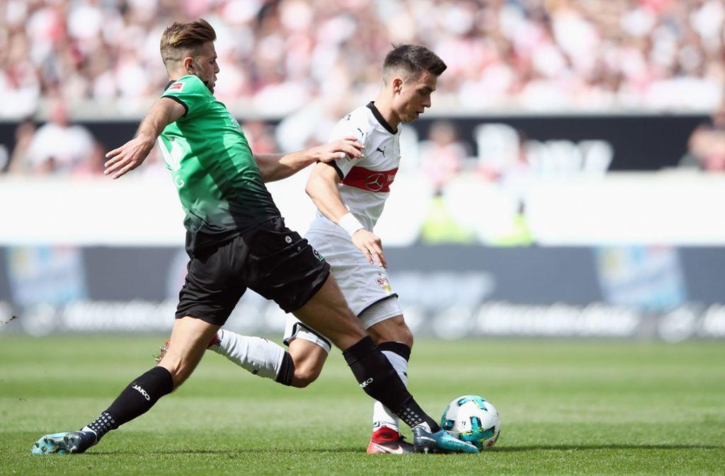 Niclas Füllkrug (links) schaffte in der Nachspielzeit den Ausgleichtreffer für Hannover 96. Foto: Getty