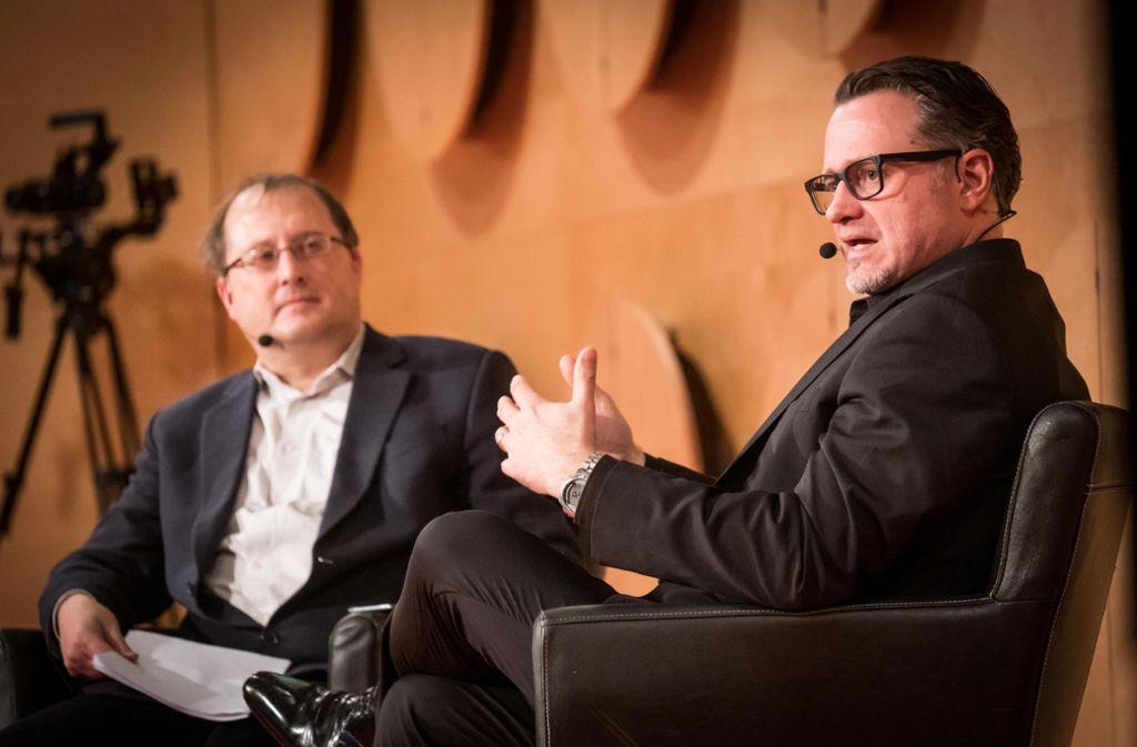 KI-Experte Olaf Groth (rechts) und StZ-Redakteur Andreas Geldner, der die Veranstaltung moderierte. Foto: Lichtgut/Achim Zweygarth
