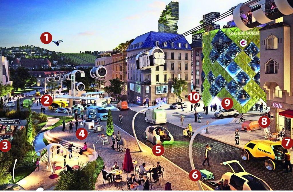 Eine Verkehrsszene in Stuttgart 2035 – und die Erklärungen der Daimler-Zukunftsforscherin Marianne Reeb Foto: Coyright Daimler AG, Future Innovation, Realisierung: XOIO