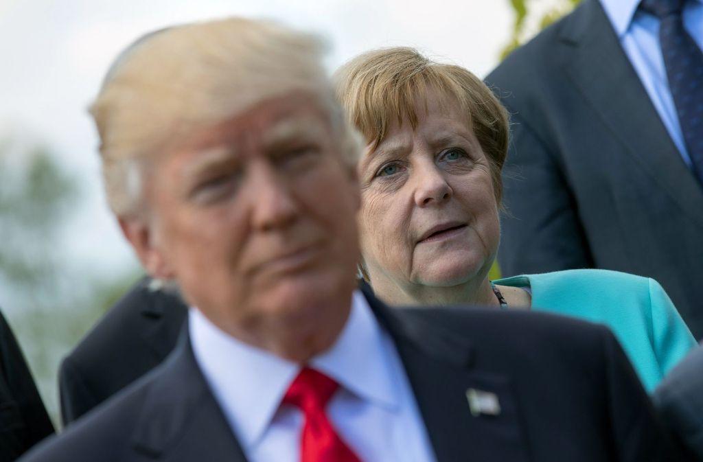 US-Präsident Donald Trump und Kanzlerin Angela Merkel: Die Amerikaner sind mit der deutschen Politik in Sachen Handelsüberschüsse unzufrieden. Foto: dpa