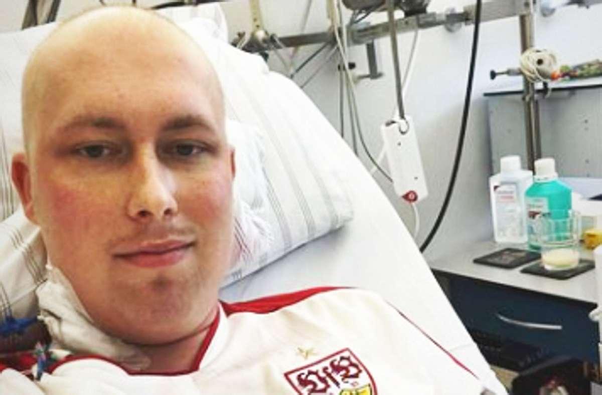 VfB-Fan Kevin im Krankenbett Screenshot: Facebook/Alessia Oliva
