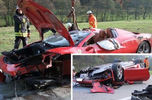 Ferrari überschlägt sich – Zwei Verletzte
