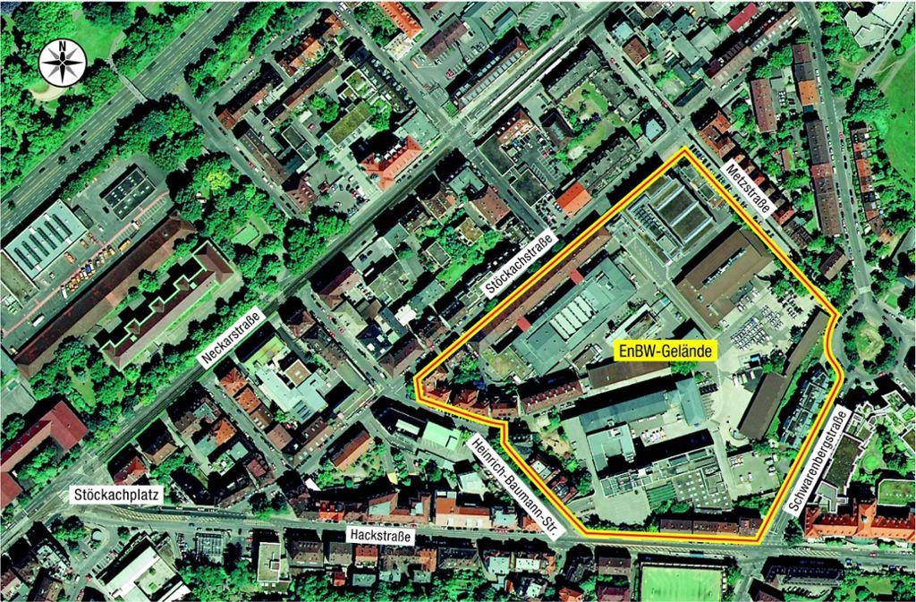 Das EnBW-Gelände an der Hackstraße soll ein Renommierviertel werden, verspricht der Bauherr. Foto: