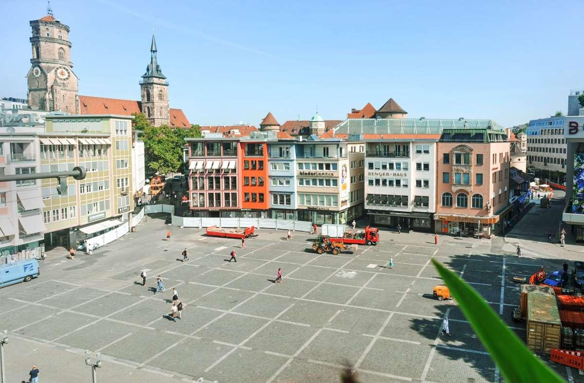 Die Bauarbeiten auf dem Marktplatz beginnen. Foto: Lichtgut/Max Kovalenko