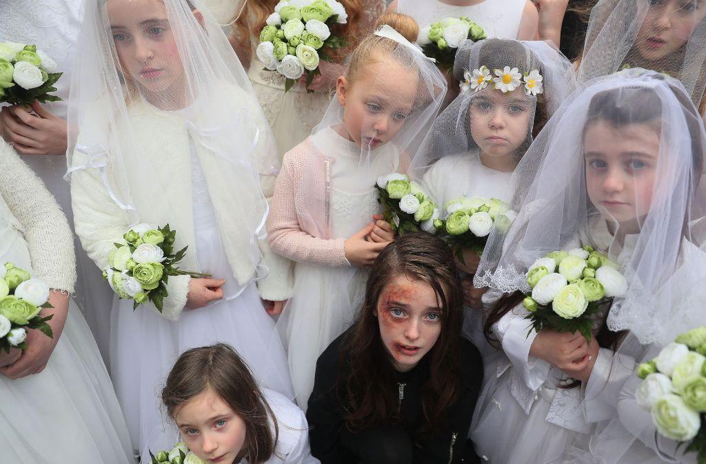 Protestaktion gegen Kinderehen in Dublin: Die Aktion soll auf das Schicksal von Mädchen in Kinderehen weltweit aufmerksam machen Foto: PA Wire