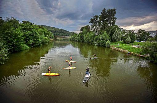 Stand-Up-Paddling durch die Esslinger Neckarkanäle