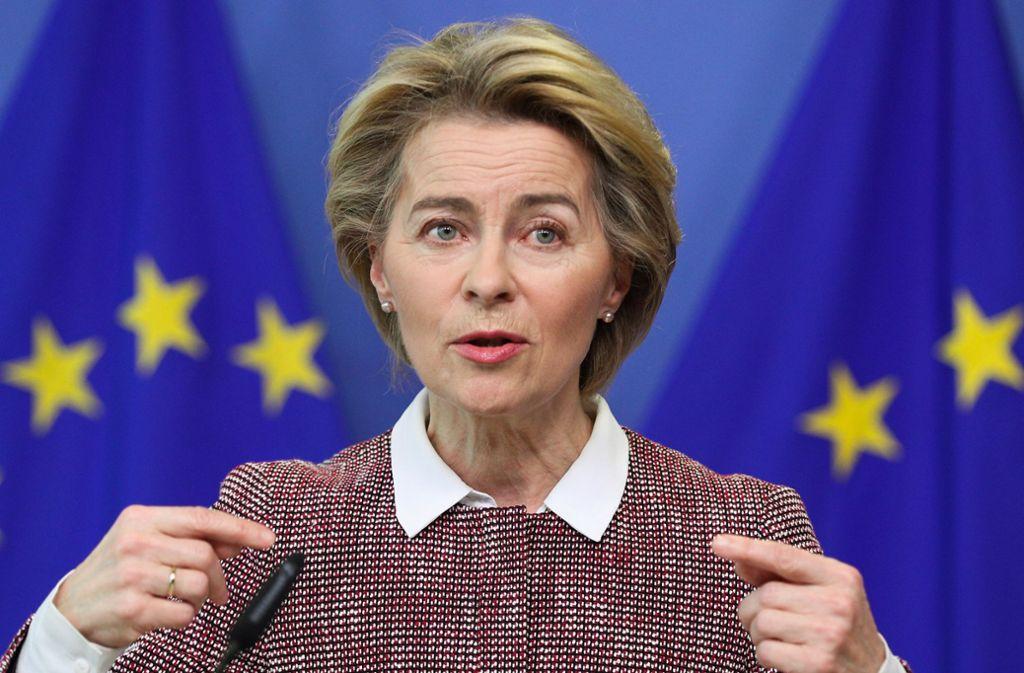 Ursula von derLeyen sagte in einem Video auf Twitter Finanzhilfen der EU von mehr als 15 Milliarden Euro zu. Foto: dpa/Zheng Huansong
