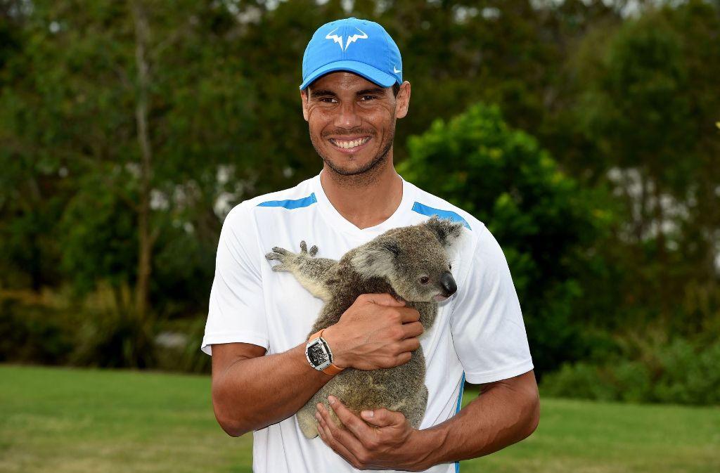 Der Spanier Rafael Nadal posiert mit einem süßen australischen Koala, bevor er in das Tunier in Brisbane startet. Foto: AFP