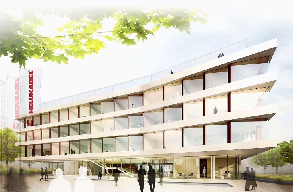 Hell und markant: So soll die neue Firmenzentrale von Helukabel aussehen. Foto: plan b/wittfoht architekten bda