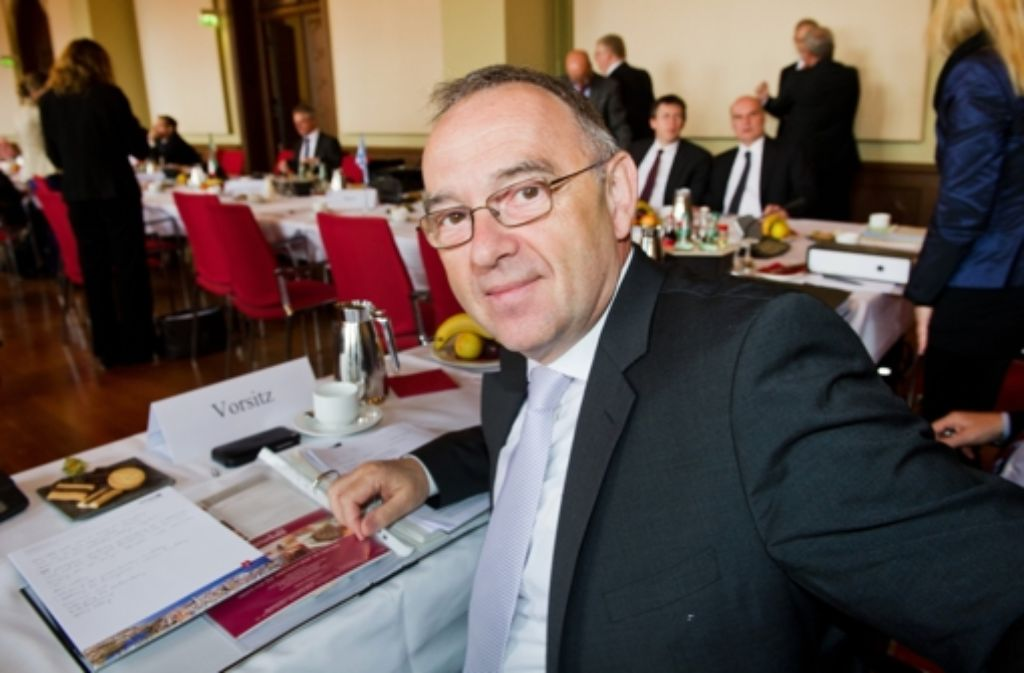 Der Finanzminister Nordrhein-Westfalens, Norbert Walter-Borjans (SPD), gegenwärtig Vorsitzender der Finanzministerkonferenz bei der Jahresfinanzministerkonferenz. Foto: dpa
