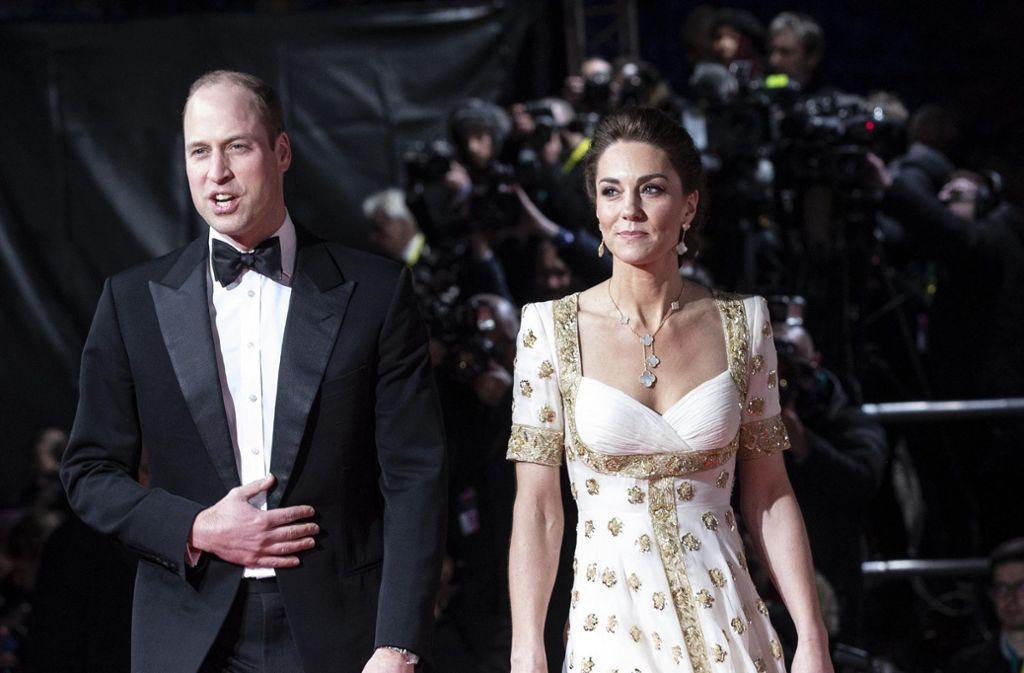 Herzogin Kate und Prinz William adelten die Bafta-Filmpreisverleihung. Foto: AP/Jeff Gilbert