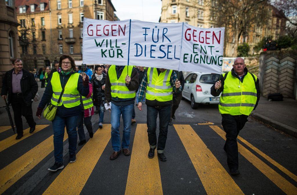 Demonstration gegen Diesel-Fahrverbote in Stuttgart Foto: dpa