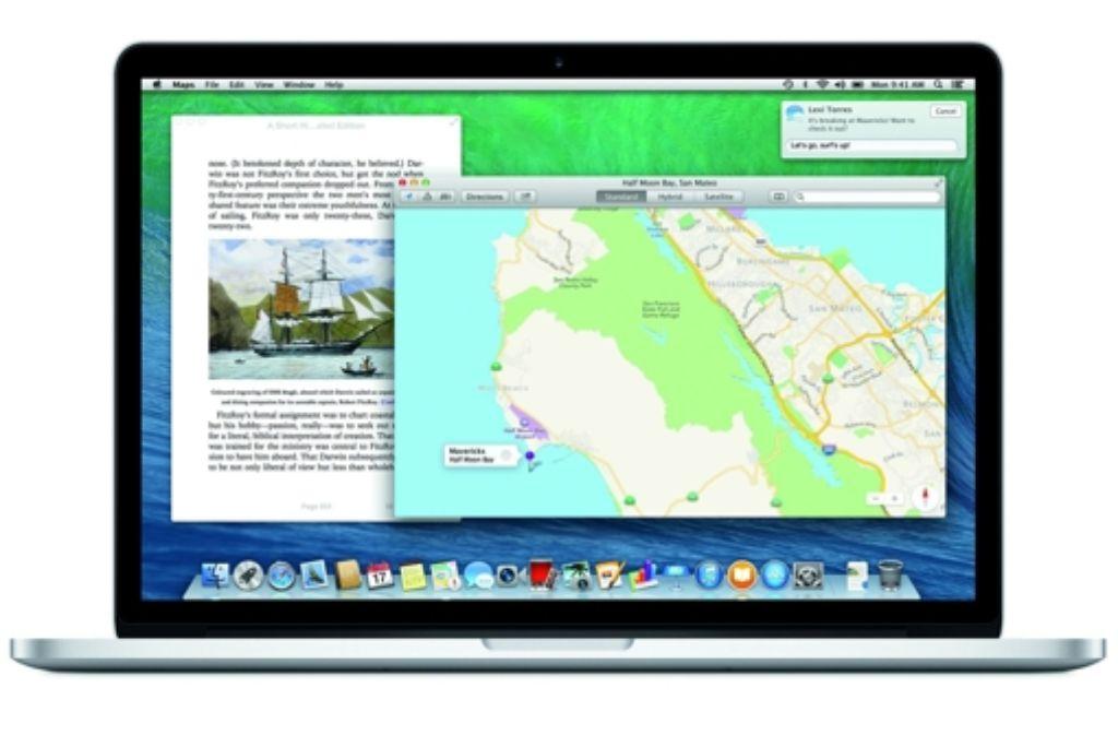 Am Dienstagabend veröffentlichte Apple sein neues Computer-Betriebssystem Mac OS X Mavericks. Mac-Nutzer können sich das Update mit vielen neuen Funktionen ab sofort im Mac App Store herunterladen – kostenlos. Foto: Apple