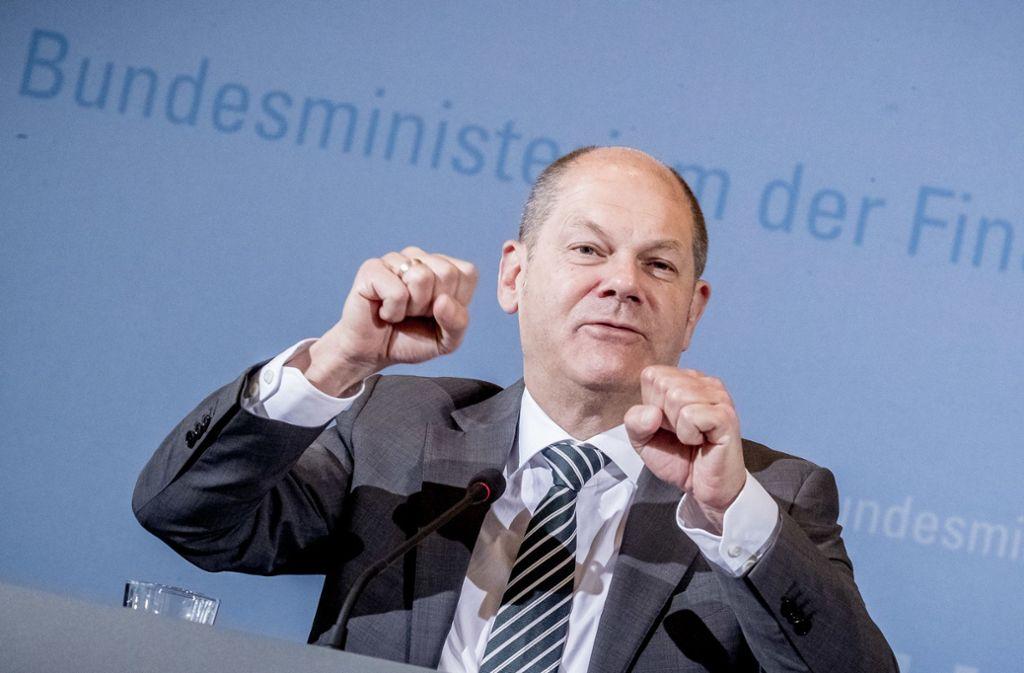 Finanzminister Olaf Scholz hält die Taschen zu. Foto: dpa