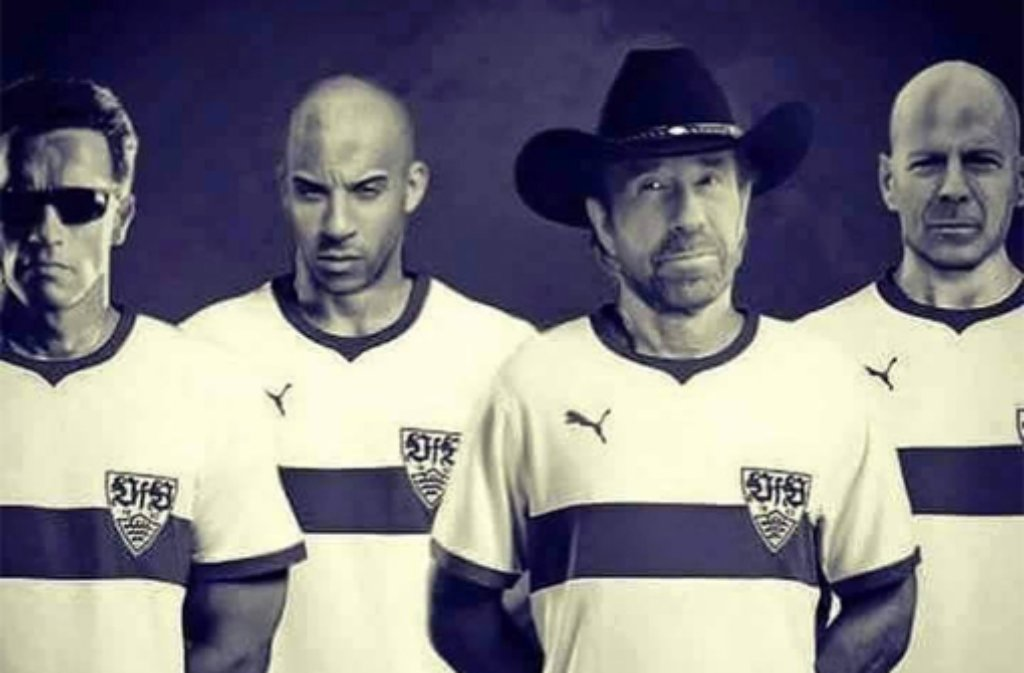 Helfen dem VfB Stuttgart nur noch Arnold Schwarzenegger, Vin Diesel, Chuck Norris und Bruce Willis (von links).  Foto: www.facebook.de/GuHa