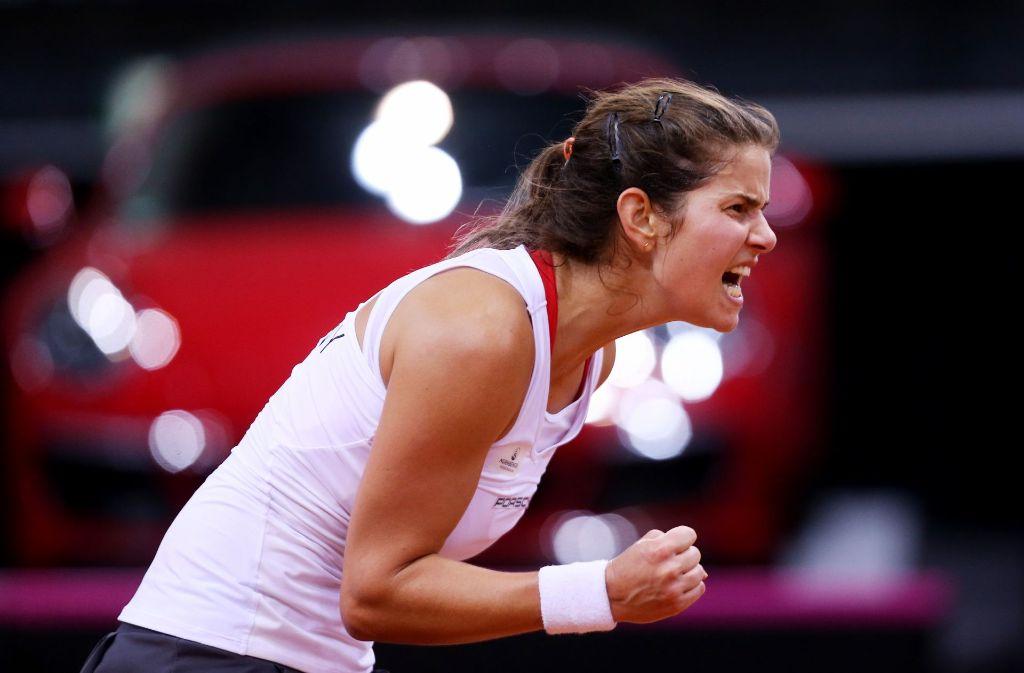 Julia Görges hat die deutschen Tennis-Damen in der Abstiegsrelegation überraschend in Führung gebracht. Foto: Pressefoto Baumann
