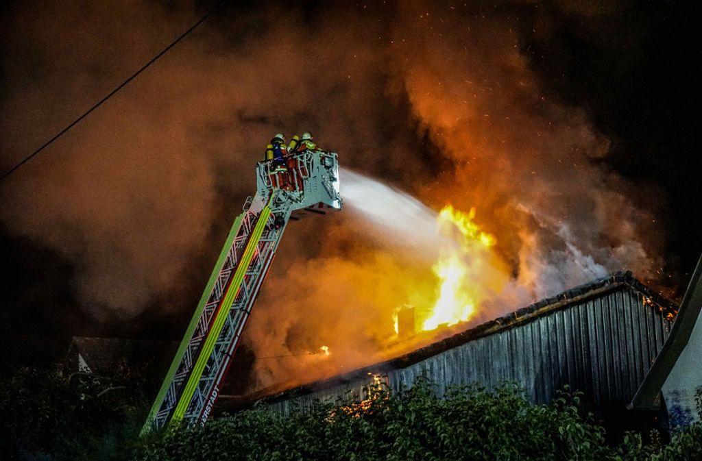 Die Feuerwehr kämpft gegen die Flammen. Foto: SDMG