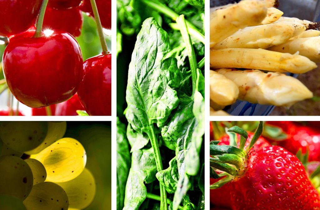 Kirschen, Trauben, Spinat, Spargel und Erdbeeren – die Erzegunisse aus Baden-Württemberg sind vielfältig und schmackhaft. Foto: Stoppel, Steinert, dpa (3)