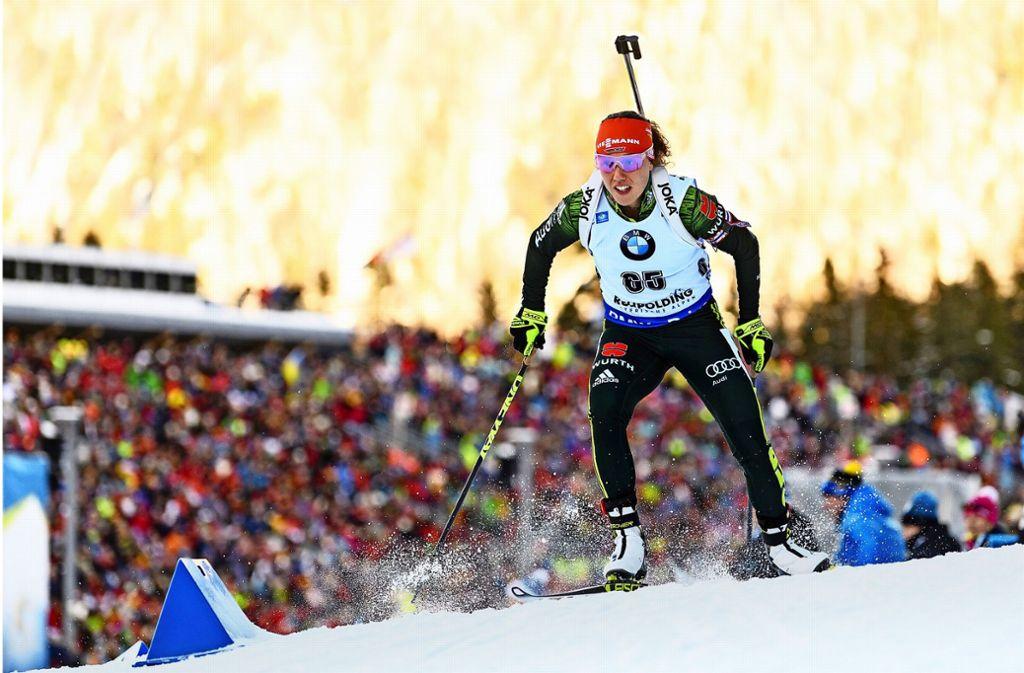 Mit Vollgas: Laura Dahlmeier kehrt in Ruhpolding in den Weltcup zurück. Foto: dpa